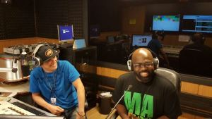 Singer Richie Stephens (r) being interviewed by radio jock Waldiney of Rádio Mirante, FM 96.1, Brazil